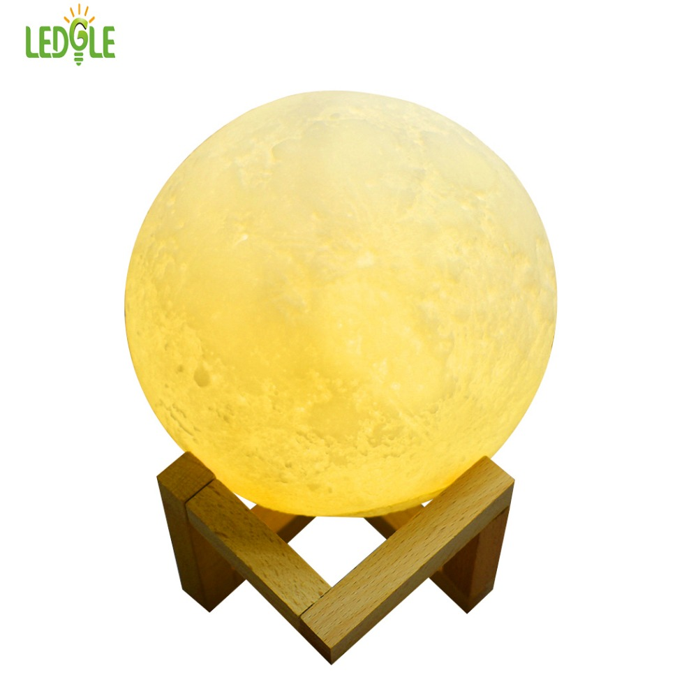 LEDGLE Rechargeable 3D Print Moon Lamp 2 Color Change Touch Switch Bedroom Bookcase Night Light Home Decor Creative Gift