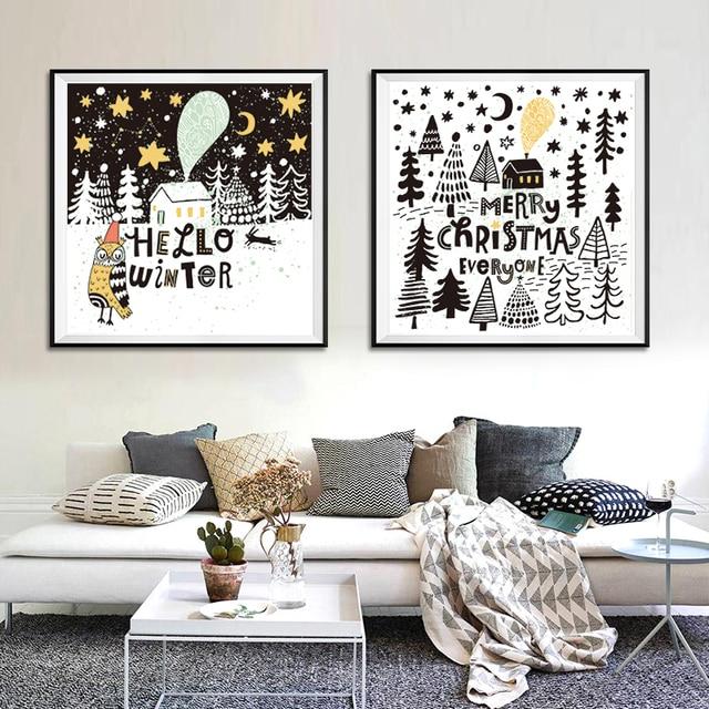 US $2.18 48% OFF|Cartoon Tier Eule Baum Schnee Moderne Nordic Kunstdruck  Poster Wandbild Canva Malerei Kinderzimmer Dekoration Wohnkultur Keine  rahmen ...