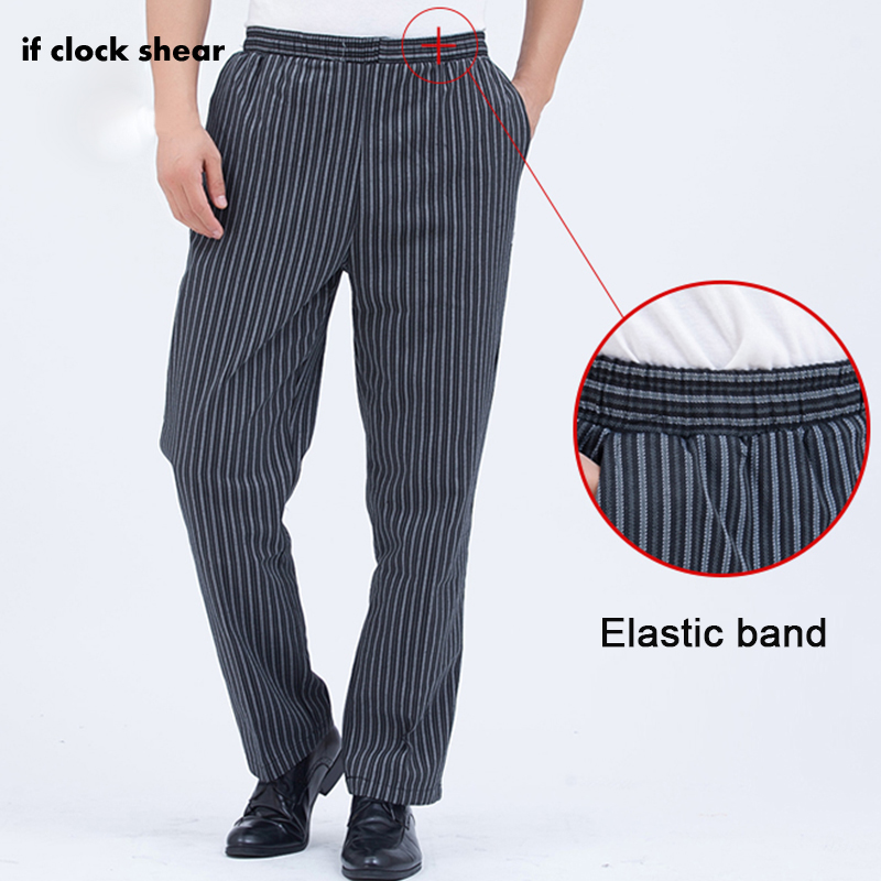 IF new chef pants hotel cook service waiter pants Cook pants work pants hotel restaurant Chef Elastic band trousers stripe image