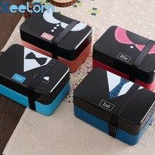Keelorn 730ML Hohe Qualität Vier Farben Mittagessen Box Hitzebeständigem Nette Kleiden Quadratische Form Cartoon Mittagessen Box