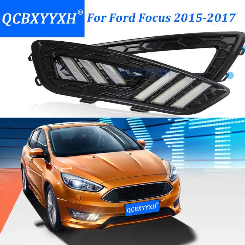 QCBXYYXH Turn Signal Dimming Car-Style Relay 12V LED Car DRL Daytime Running Lights With Fog Lamp Hole For Ford Focus 2015-2017 turn off and dimming style relay led car drl daytime running lights for ford kuga 2012 2013 2014 2015 with fog lamp