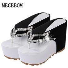Thick Bottom Platform Flip Flops Rhinestone Wedge Heel Shoes Patchwork Woman Summer Sandals A821