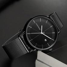 лучшая цена Men Business Watch Top Luxury Brand Stainless Steel Mesh Strap Quartz Watch for Man Gold Black Wrist Watches Relogio Masculino