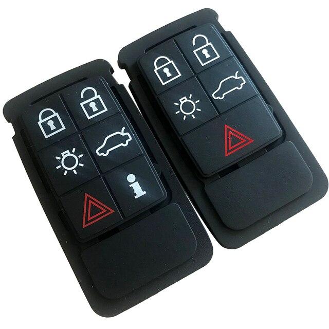 5 6 botones remoto clave almohadilla de goma de FOB aptos para Volvo S60 S80 XC70 XC90 negro estera de caucho de control remoto funda de silicona con llavero
