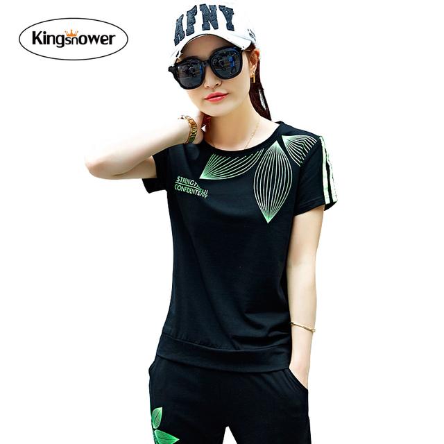 Sportswear 2016 Mulheres Folhas Impresso Costumes Mujer 2 Peça Conjunto de fatos de Treino de Verão de Manga Curta Casuais T-shirt Calça JA4012