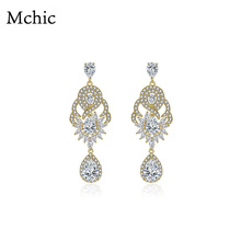Yhpup Ramantic Crystal Flower Luxury Exquisite Dangle Earrings Pave Micro Cubic Zirconia Drop For Wedding Party Jewelry