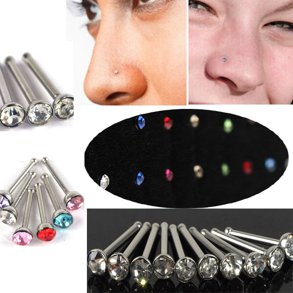 LNRRABC 1 φύλλο / 40 τεμάχια Μόδα Clear Crystal Rhinestones Μαζικό οστό Straight Stud Bar Nose Stud Piercing Ring For Women Jewelry