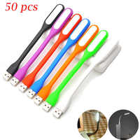 50pcs USB LED Mini Reading Light Flexible Bright Night Lamp Portable Lights Tablet PC Power Bank Notebook Laptop USB Flashlight