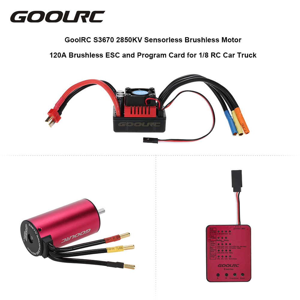 GoolRC S3670 2850KV Sensorless Brushless Motor 120A Brushless ESC and Program Card Combo Set for 1:8 RC Car Truck Part sensorless 35a brushless esc electric speed controller for rc car racing set ft