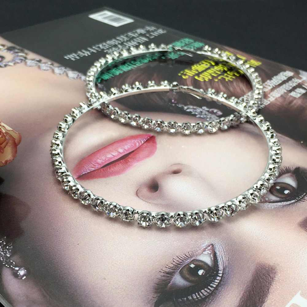 ... MANILAI Luxury 100mm Diameter Big Crystal Hoop Earrings Statement  Jewelry Rhinestones Earrings For Women Wedding Brincos ... e868472f33c7