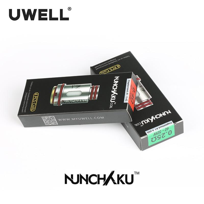 UWELL 4 Pcs /Pack NUNCHAKU Replacement Coils 0.25/0.4 ohm For NUNCHAKU Tank Electronic Cigarette Atomizer uwell crown2 mini tank 2ml 0 25 ohm 0 5 ohm