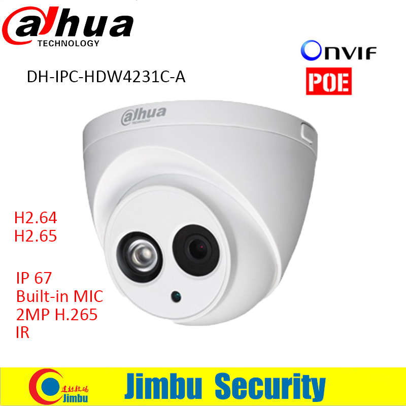 ФОТО Dahua IP Camera 2MP IPC-HDW4231C-A lens 3.6mm Full HD 1080P H.265 security Network Camera IR Support POE With Audio Built-in MIC