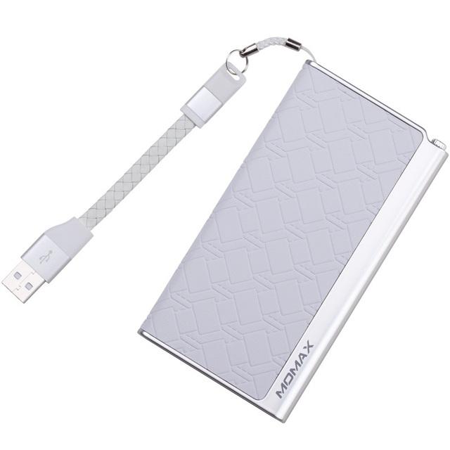 Momax certificación de mfi 2.1a 5000 mah banco de la energía 5000 mah banco de energía de respaldo piel de vaca piel de cuero de la pu para smartphone para apple iphone