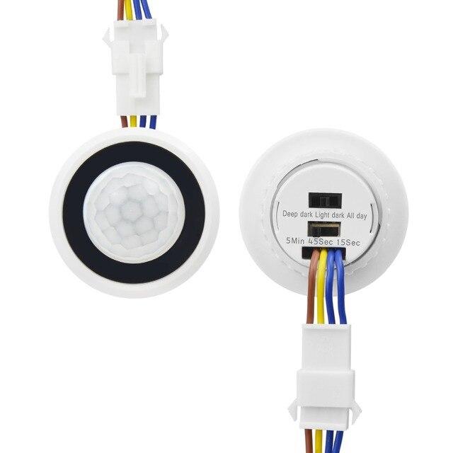 تأخير الوقت قابل للتعديل 110 فولت 220 فولت حساسة للغاية السيارات على/قبالة PIR مستشعر حركة بالأشعة تحت الحمراء تبديل وضع كاشف مفتاح الإضاءة