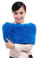 Elegant women's autumn warm wraps with natural rex rabbit hair,12 colors knitted white blue purple winter dress fur K258