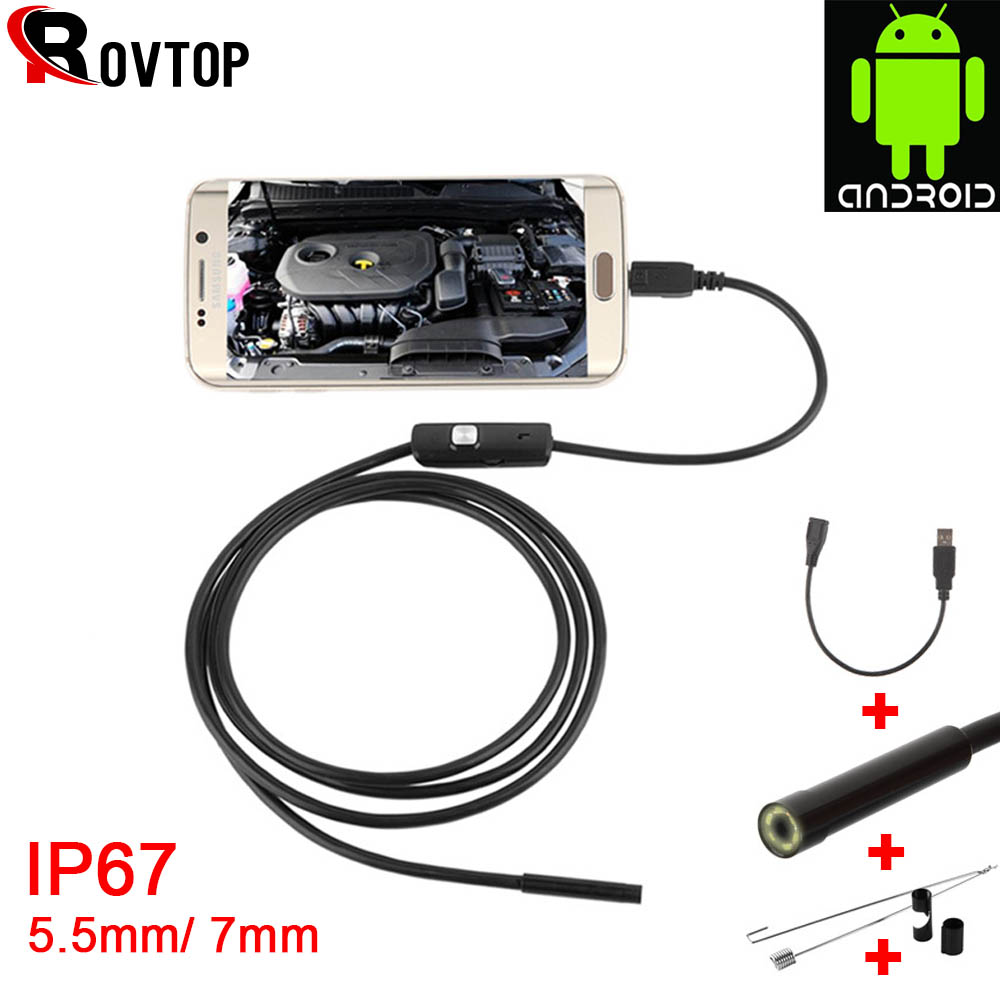 Rovtop Endoscope USB Android Endoscope Camera Waterproof Inspection Borescope Flexible Camera 5.5mm 7mm For Android PC Notebook