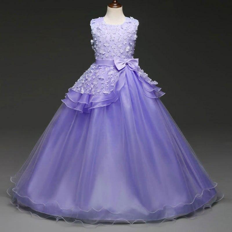 Green Blue Purple Pink Elegant Long Children Wedding Dress For Girls ...