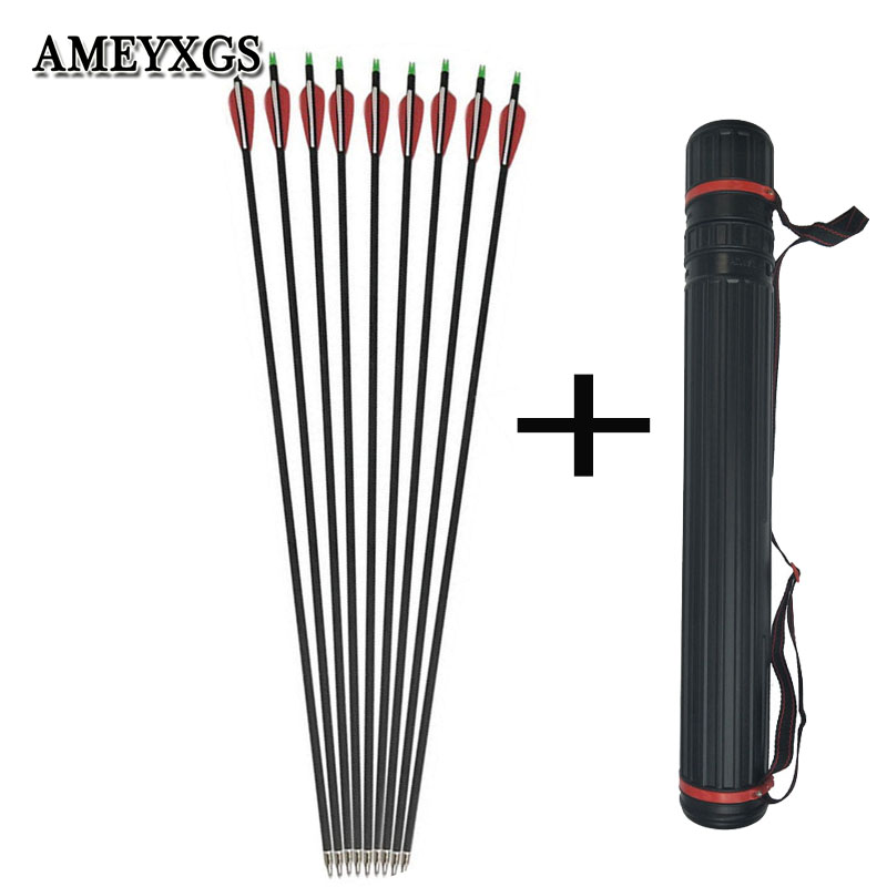 12pcs Spine 500 Composite Carbon Arrow And Adjustable Shoulder Portable Arrow Quiver Kit Outdoor Hunting Archery Accessories in Bow Arrow from Sports Entertainment
