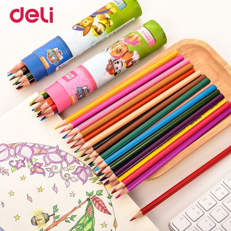 Купить с кэшбэком Deli 12/18/24/36 wood pastel colored pencil set for school kid drawing paw patrol office art supply improve imagine gift pencils