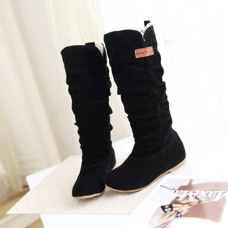 Women Lace Nubuck Flat Heels Winter Snow Boots Shoes Women's Flock Plush Padded Winter Long Riding Motorcycle Boots Shoes 1
