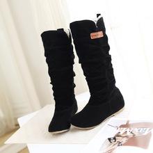 Kobiety koronkowe nubukowe płaskie obcasy zimowe buty śnieżne buty damskie stado pluszowe wyściełane zimowe długie buty motocyklowe buty tanie tanio XingDeng Podkolanówki Mieszkanie z Buty śniegu Okrągły nosek Mieszkanie (≤1cm) Slip-on