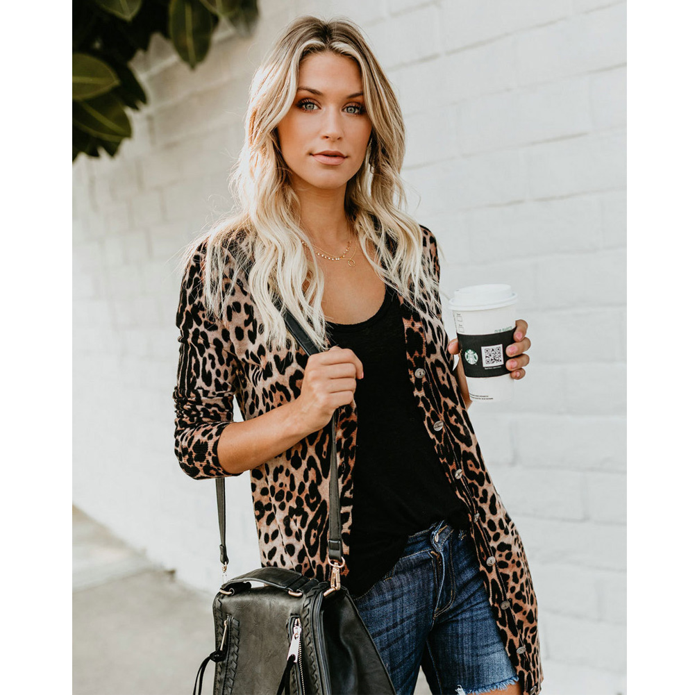 Jackets 2018 Hot Autumn Classic New Fashion Women V Collar Long Sleeve Leopard print Coat Jacket S-XL