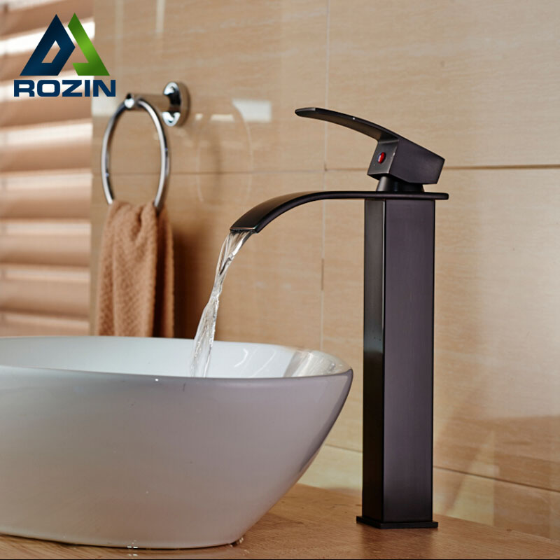 все цены на Oil Rubbed Bronze Countertop Waterfall Bathroom Vanity Sink Faucet Deck Mount with Hot Cold Water онлайн
