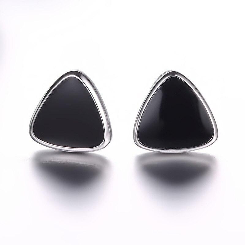 100 925 sterling silver fashion black triangle ladies stud earrings jewelry female women Anti allergy drop shipping cheap in Stud Earrings from Jewelry Accessories