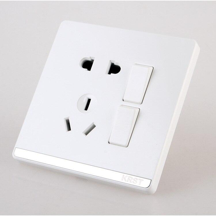 Interruptor Da Tomada de Parede de Decoração para casa, 86 Tipo Escondido Grande Placa de Jade Branco, cinco Buraco Dois Abertos Interruptor de Controle Duplo Tomada, 1