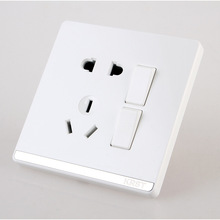 Home Furnishing Wall Switch Socket 86 Type Concealed Large Board Jade White Five Hole Two Open