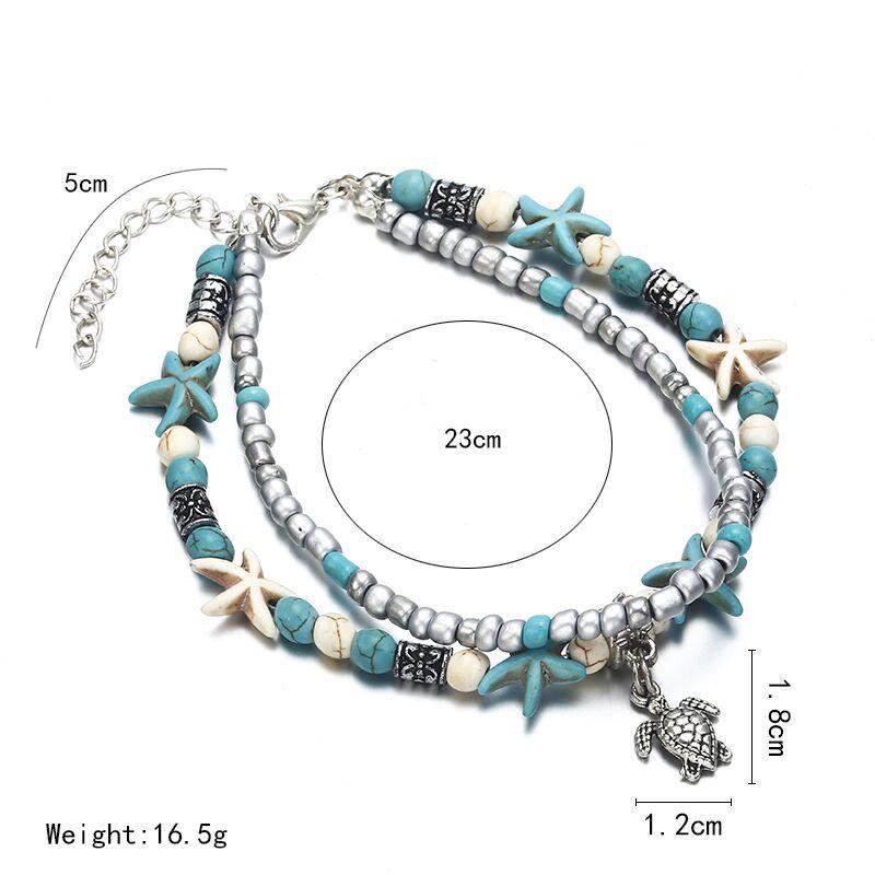 SEVENSTONE Natural Store 2PCS Boho Creative Double-footlet Starfish Rice Beads Enkelbandje Yoga Beach Summer Anklets for Woman 5