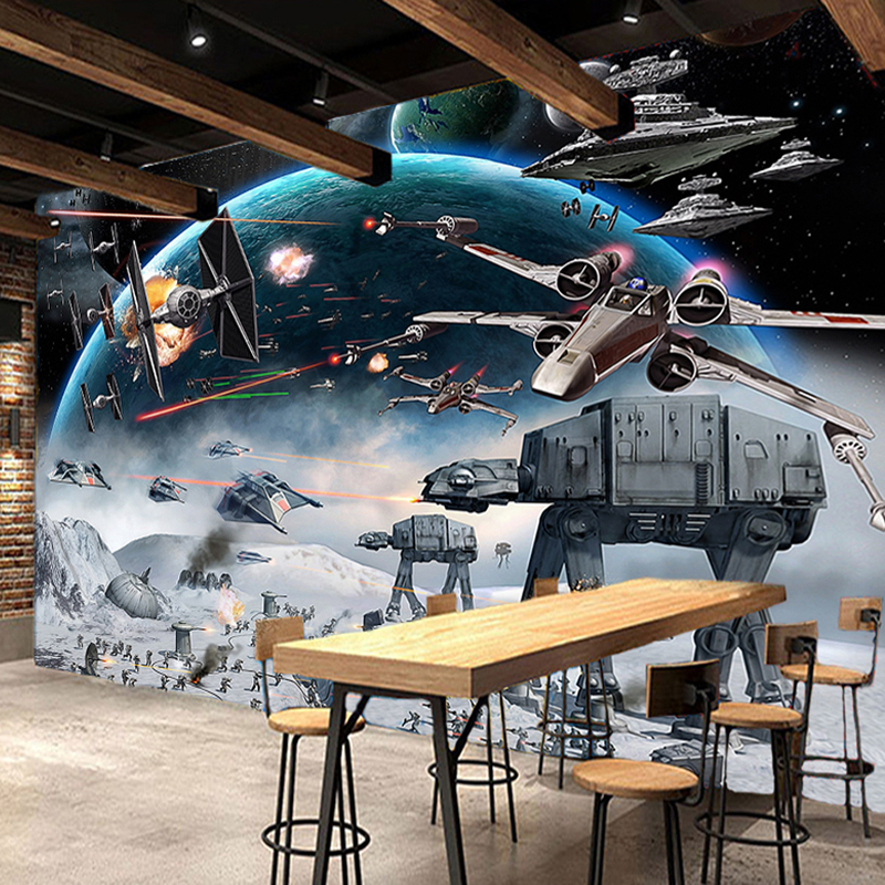 Custom 3D Photo Wallpaper Mural Star Wars Large Murals Wall Painting Eco-friendly Non-woven Bedroom Wallpaper Papel De Parede 3D 3d wallpaper custom mural non woven 3d room wallpaper black and white circle line 3 d painting photo 3d wall murals wallpaper