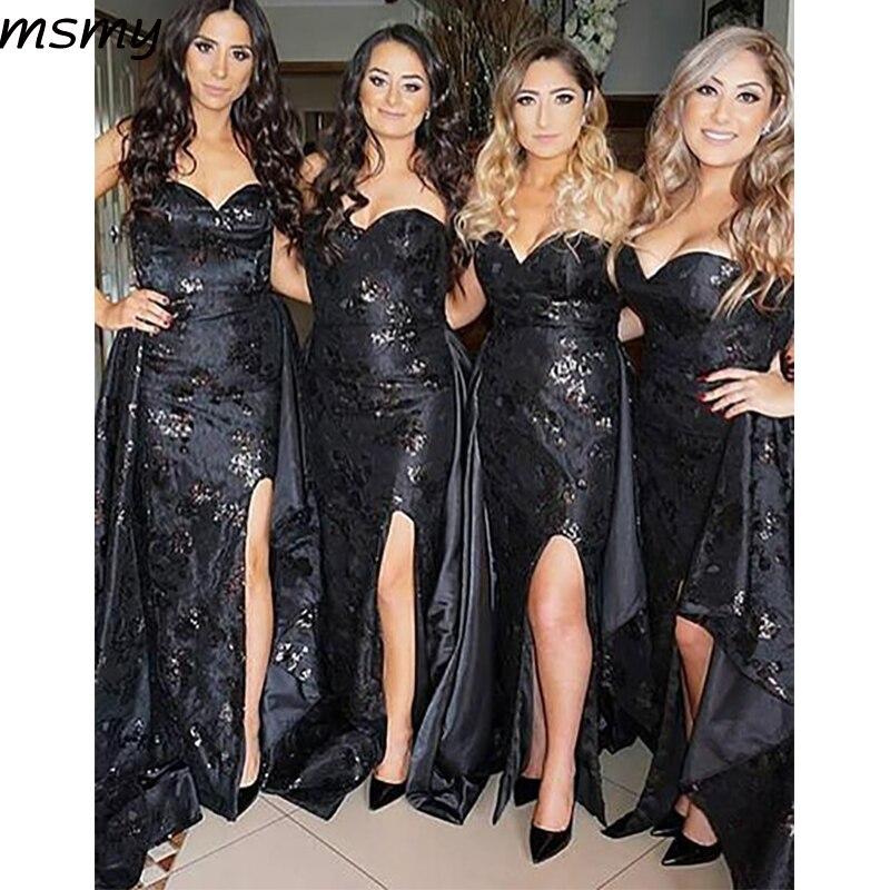 Elegant Mermaid Sweetheart   Bridesmaid     Dresses   Sleeveless Side Split   Bridesmaid     Dresses   Custom Made