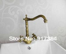 Античная Латунь Двойной Ручки одно отверстие Ванная комната Смеситель для мойки Нажмите латунь кран JN8632