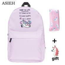 Student Unicorn Pattern combination Backpacks Girl red green pink school bags Women casual travel backpack Pencil case and gift(China)