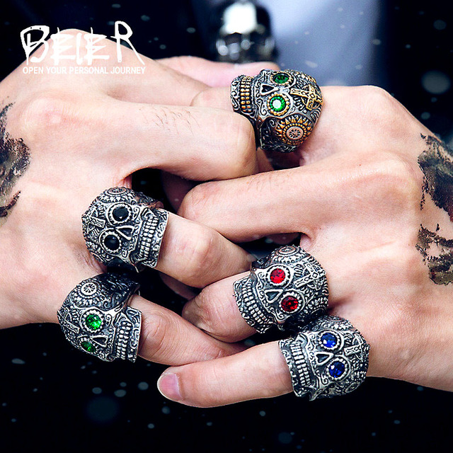 Beier 316L Stainless steel Colorful geen eyes Gothic gold Carving kapala Skull Ring Biker Hiphop rock Jewelry For man LR327