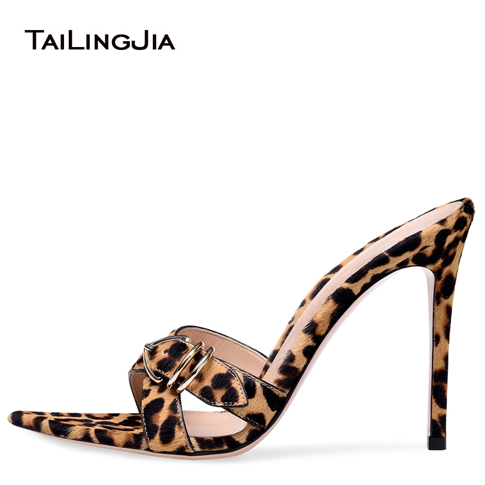 Pointed Open Toe High Heel Mules Women Leopard Heeled Sandals Sexy Dress Heels Party Shoes Stilettos Ladies Summer Shoes 2018 2017 summer women sexy gold chains strappy open toe stiletto heel nightclub party high heel sandals dress shoes ladies