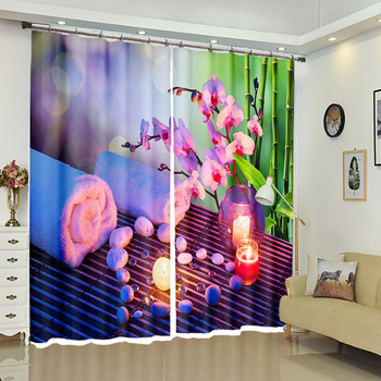 Custom sizes 3D Blackout Window Curtains Red Orchid Candle Pattern Thicken Washable Polyester Bedroom Curtains for Living Room