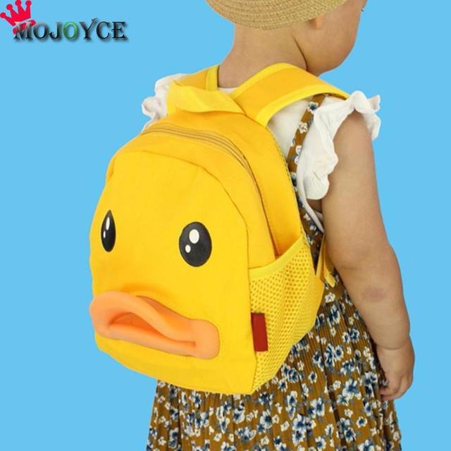 Children Canvas Backpacks 3D Cartoon Duck Animal Style Backpacks Girls Boys  Double Shoulder School Bag Kids 0053b0f193a20