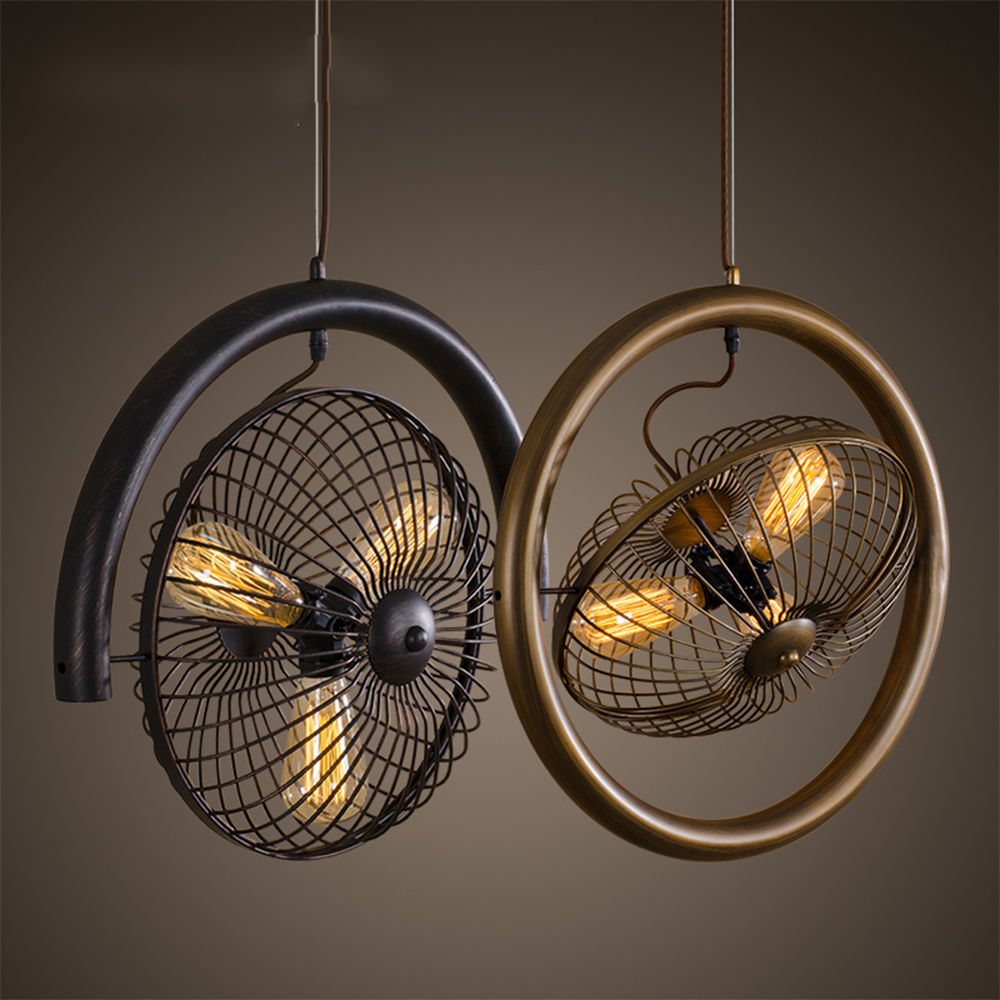 Vintage ceiling fans with lights - Hot Sale American Country Vintage Industrial Edison Round Fan Iron Loft Ceiling Chandelier Lamp Droplight For Cafe Bedroom