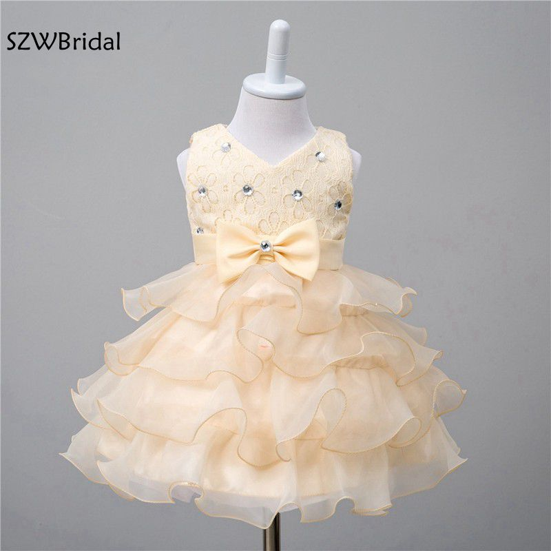 Fashion Cap sleeve Organza 5 Color Beaded Lace   flower     girl     dresses   2019 vestido daminha vestidos de primera comunion