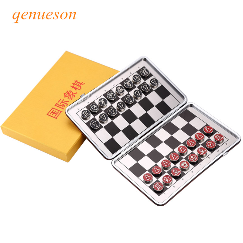 New Al alloy material Portable mini magnetic folding chess set child educational toys China national style Board Games  qenueson ryad mogador al madina ex lti al madina palace 4 агадир