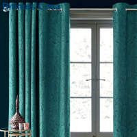 3D Embossed Velvet Blackout Windows Curtain For Living Room Bedroom Interior Floral Plaid Pattern High Shading Home Decoration