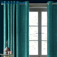 3D Embossed Velvet Blackout Windows Curtain For Living Room Bedroom Floral Plaid Pattern High Shading Blue