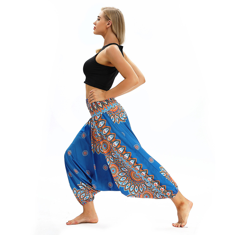 Women Men Pants Casual Woman High Waist Wide Leg Harem Trousers Baggy Boho Loose Aladdin Festival Hippy Jumpsuit Print Lady pant 101