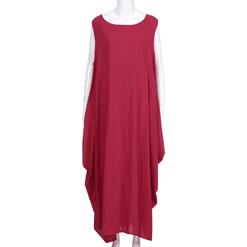 Womail New Fashion Women Vintage Sleeveless O-Neck Desses Casual Baggy Long Boho Dress Mujeres Vestido Drop Shipping 49.JUly.5