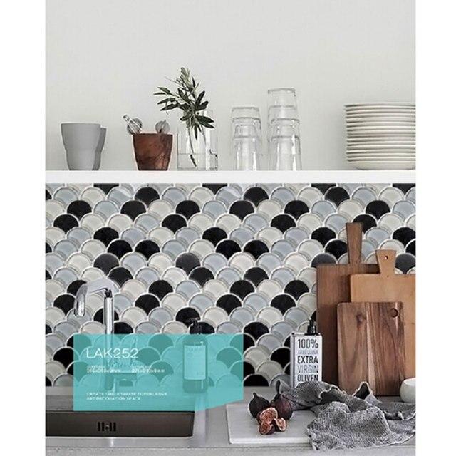 Maglia montato a forma di ventaglio mosaico cucina backsplash ...