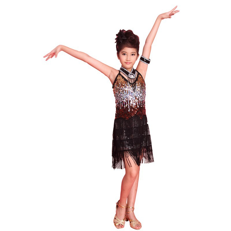 Girls Latin Dance Tango Sequin Dancing Children Girl Fairy Dresses Costume  For 6-12 Young Children H