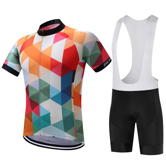 Special Mix Color Rhombus Print Cycling Jersey And Bib Shorts Sets ... 7a383d923