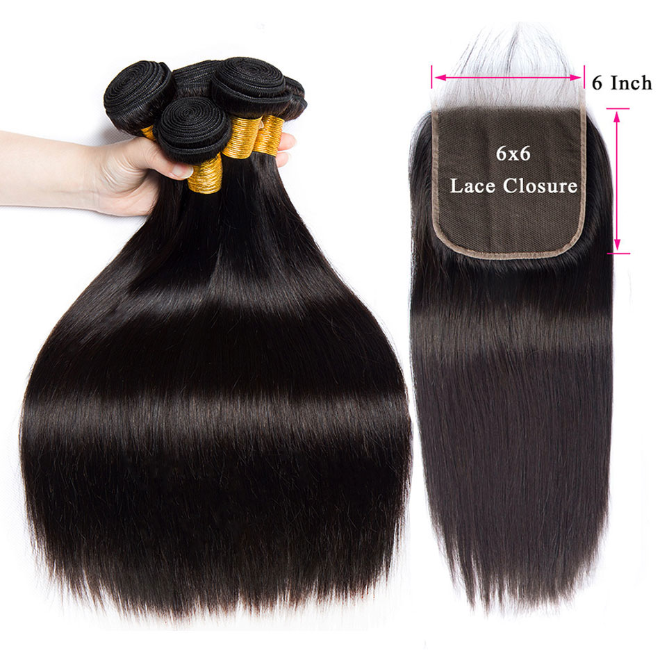 6x6 Lace Closure With Straight Hair Bundles With Closure Peruvian Hair Bundles With Closure Remy Human